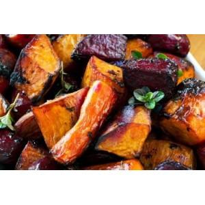 Glazurowane warzywa z dressingiem miodowo-musztardowym